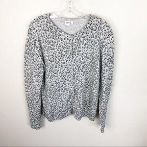 Gap Cheetah Print Cardigan Sweater Button Up L